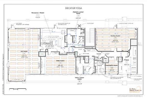 plans of a yoga studio in Decatur, GA.